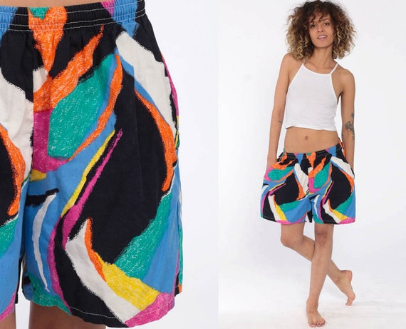 90s Swim Trunks Beach Shorts Neon Swirl Print Surf Shorts Summer Retro Vintage 1990s Surfer Shorts Small Medium