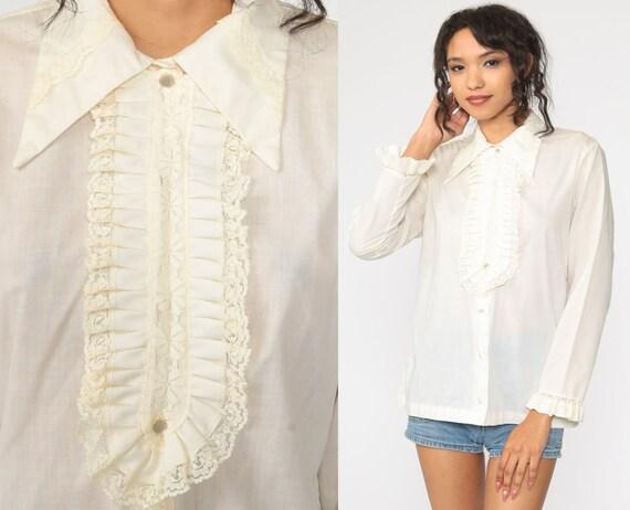 Tuxedo Lace Blouse White Dagger Collar Shirt 70s Victorian Shirt Button Up Boho Hippie Bohemian Blouse Vintage Long Sleeve Large L