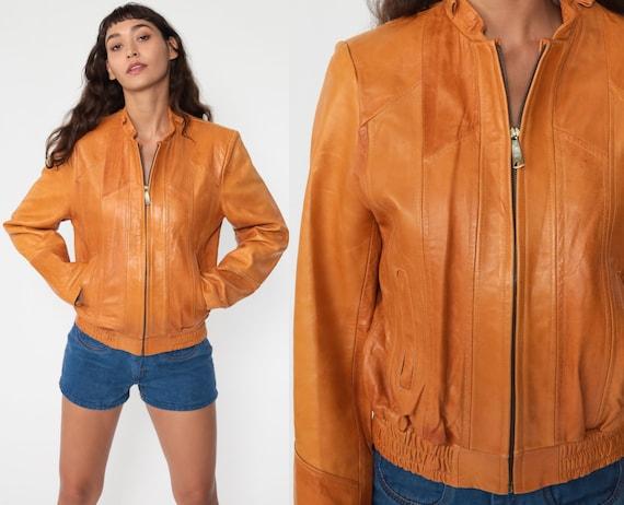70s Leather Moto Jacket Brown Coat Boho Hippie 1970s Vintage Hipster Zip Up Motorcycle Jacket Bomber Jacket Collared Medium 38