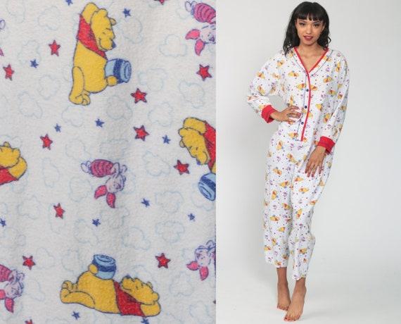 Winnie The Pooh Pajama Romper One Piece Pajamas 90s Disney PJs Retro Sleep Romper Set 1990s Vintage Adult Pajamas Romper Medium