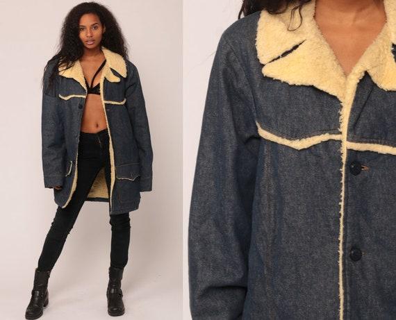 Denim SHERPA Jacket Men Shearling Denim Jacket 70s Jean Jacket Fleece Grunge Biker Coat Blue 1970s Vintage Hipster Vegan Warm Large