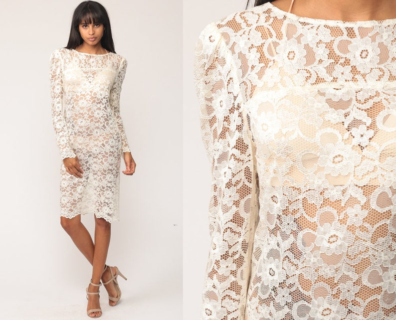 12a8bb6b88 White Lace Dress 80s Mini SHEER Lace Puff Sleeve Grunge Party