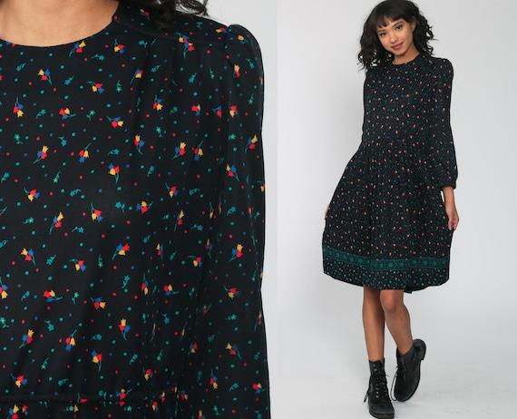 70s Floral Dress Black Midi Boho PUFF SLEEVE Secretary Dress Vintage 1970s Dress High Waisted Dress Bohemian Dress Large