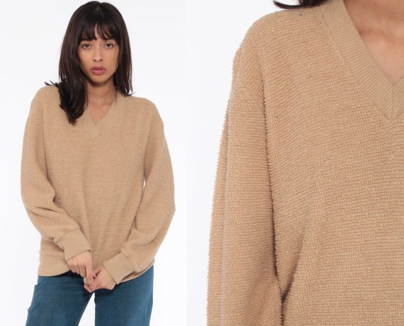 Nubby Tan Sweater V Neck Sweater Slouchy Plain 80s Knit Dark Beige 70s Jumper Vintage Normcore Retro Large