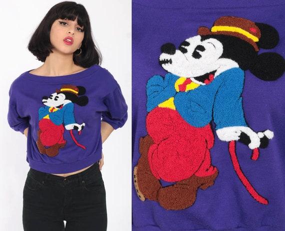 Cropped Mickey Mouse Sweatshirt 1920s Print Crop Top 80s Disney Mickey Sweatshirt Graphic Cartoon Purple Extra small xs