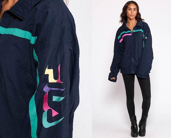 Fila Jacket Streetwear Windbreaker Jacket Sports Warmup Jacket Navy Blue Striped Jacket Hipster Vintage Retro Warm Up Medium Large
