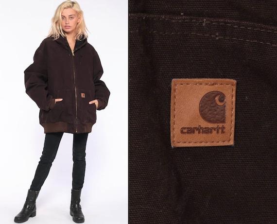 Carhartt Duck Jacket XL Tall -- Hooded Jacket Brown Hoodie Cargo Hood Coat Grunge Vintage Hipster Workwear Work Wear Extra Large xl Tall