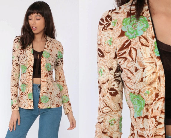 Floral Jacket 70s Boho Blouse Wrap Shirt Puff Sleeve Open Front Blouse 1970s Bohemian Hippie Vintage Brown Green Extra Small xs