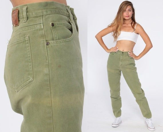 Olive Green Mom Jeans 90s Liz Claiborne Jeans Lizwear Jeans Denim Pants Tapered 1990s Jeans Vintage Small 27