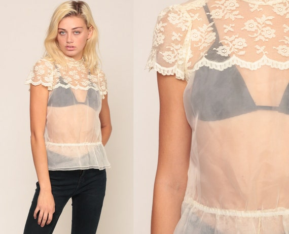 Sheer Lace Top 70s Boho Shirt PUFF SLEEVE Blouse White Victorian Blouse Romantic SCALLOPED 1970s Hippie See Through Bohemian Chic Small