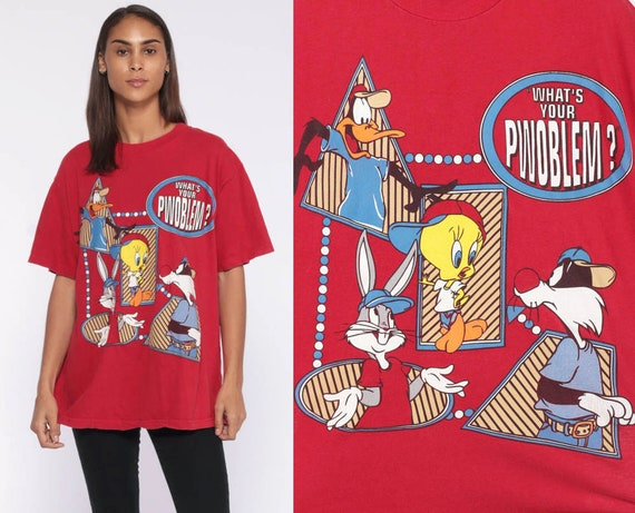 Looney Tunes Shirt -- WHAT'S YOUR PROBLEM? 90s T Shirt Tweety Bird Sylvester The Cat Cartoon Graphic Sarcastic Vintage Red 80s Medium Large