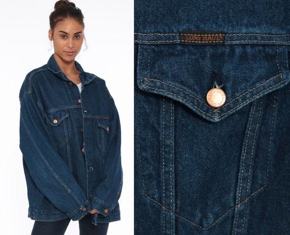 80s Denim Jacket xl -- Jean Jacket Dark Blue Trucker Jacket Jean Jacket 1980s Vintage Biker Button Up Long Haul Oversized Extra Large Tall