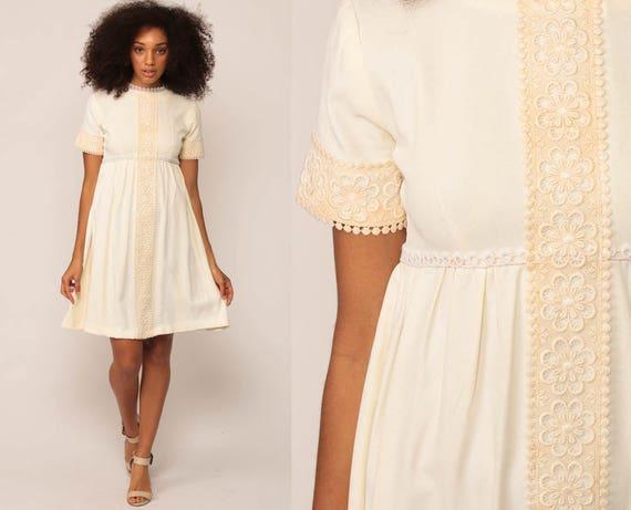 Boho Mini Dress 70s Babydoll LACE 1970s Mod Bohemian Wedding Cream Vintage Empire Waist Festival Dolly Minidress Short Sleeve extra small xs