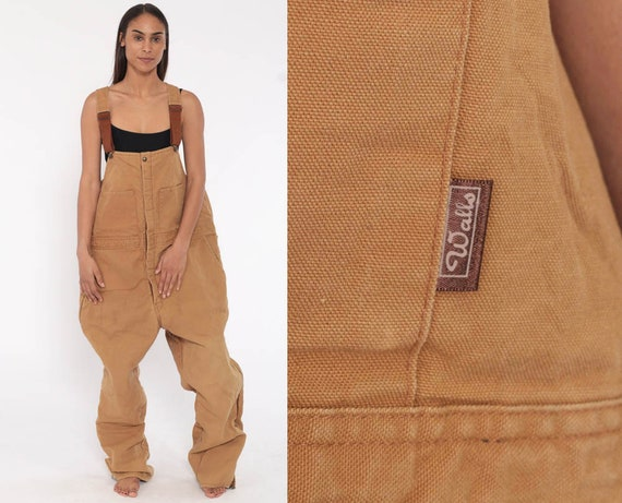 80s INSULATED Overalls Walls Blizzard Pruf Coveralls Workwear Grunge Baggy Tan Pants Work Wear Long Cargo Vintage Dungarees Extra Large xl