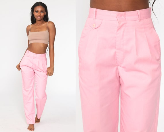Pink Cheenos Pants Pleated Trousers High Waisted Trousers 80s Tapered Straight Leg 1980s Vintage Summer Pastel Slacks Small