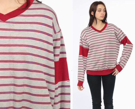 80s Wilson Striped Sweatshirt -- 1980s Ringer Shirt V Neck Red Striped Slouchy Sports 80s Sweater Pullover Heather Grey 1980s Extra Large XL