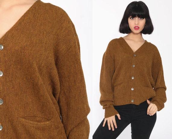 Brown Cardigan Sweater 80s Plain Sweater Button Up Grunge Slouchy Knit 1980s Grandpa Vintage Oversized Geek Preppy Retro Medium Large