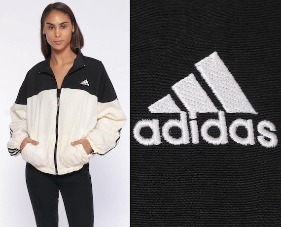 Adidas Zip Up Windbreaker -- 90s Black Striped Track Colorblock White Black 1990s Sporty Color Block 80s Zip Up Track Jacket Medium Large