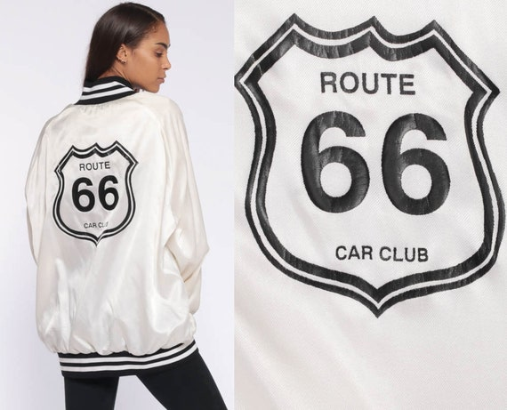 ROUTE 66 Jacket Satin Bomber Jacket -- 80s Car Club Baseball White Letterman Coat Grease Rockabilly 1980s Vintage Snap Up Extra Large xl 2xl