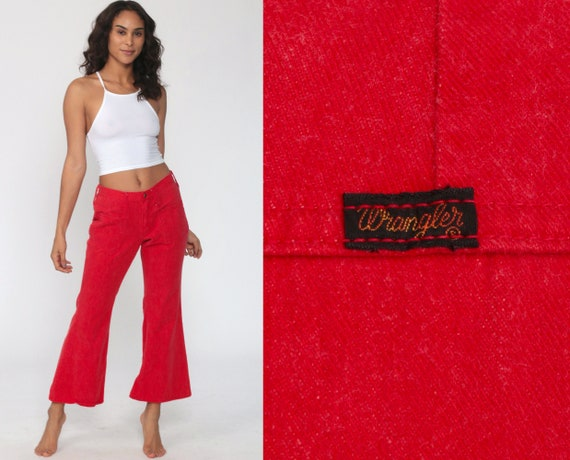 Red Bell Bottom Pants 70s Hippie Low Rise Waist Trousers Boho Flared WRANGLER Pants 1970s High Waist Vintage Bohemian Extra Small xs