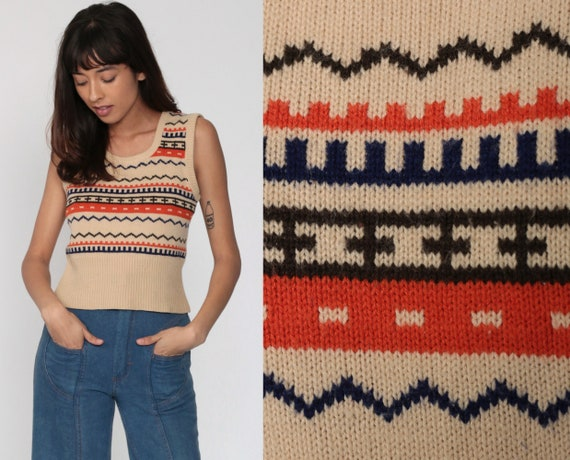 Sweater Vest Top Tan Striped Shirt Nerd Sweater 70s Boho Scoop Neck Knit Geometric Shirt Hippie Shirt Sleeveless Vintage Orange Small