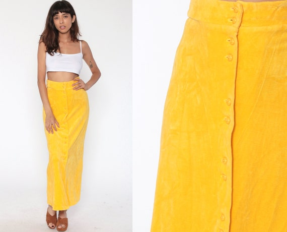 Yellow Velour Skirt 70s Maxi Skirt Boho Belted Summer 1970s Long Button Up Vintage Hippie Festival Drape Bohemian Extra Small XS 2
