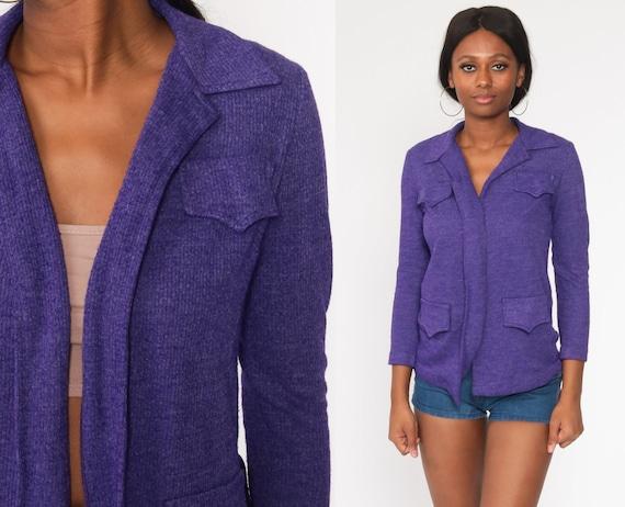 Purple Wrap Sweater 70s Boho Cardigan Sweater Vintage Hippie Acrylic Bohemian Cardigan Knit Open Front 1970s Small S