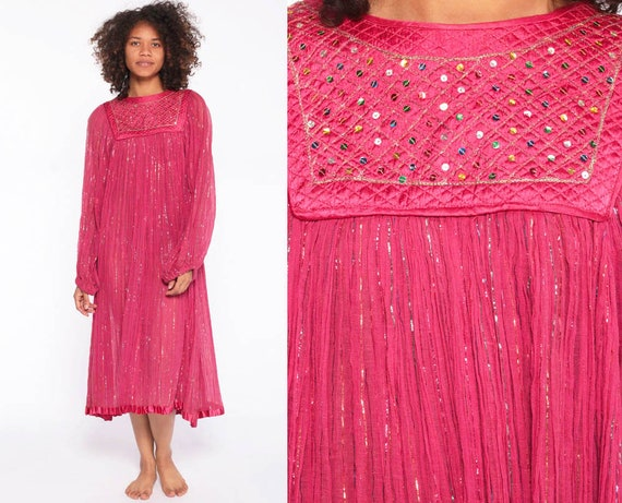 Indian Gauze Dress -- Hippie 1970s METALLIC Semi Sheer 70s Gypsy Boho Vintage Midi Dress Sheer Ethnic Cotton Sparkle Glitter Small Medium xs