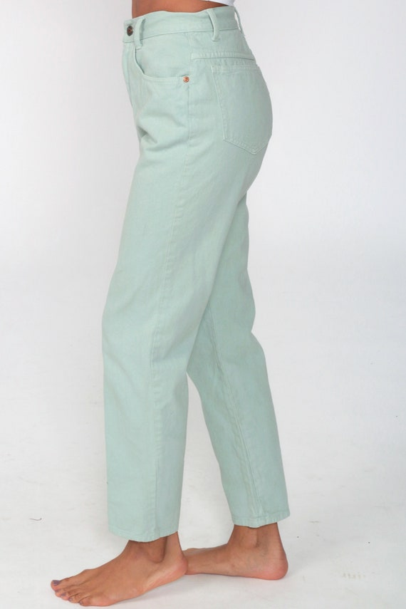 Mint Pastel Jeans XS -- Tapered Leg 90s Jeans Mom… - image 5