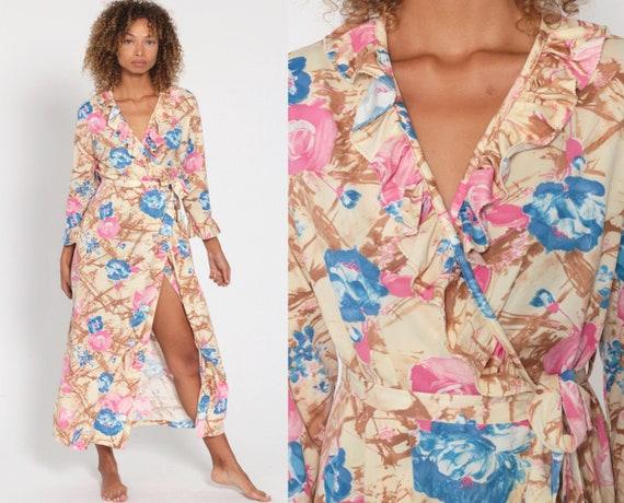 Floral Lounge Dress WRAP Dress RUFFLE V Neck 70s Maxi Robe High Waist 1970s Vintage Beige High Slit Long Sleeve Nightgown Small Medium Large