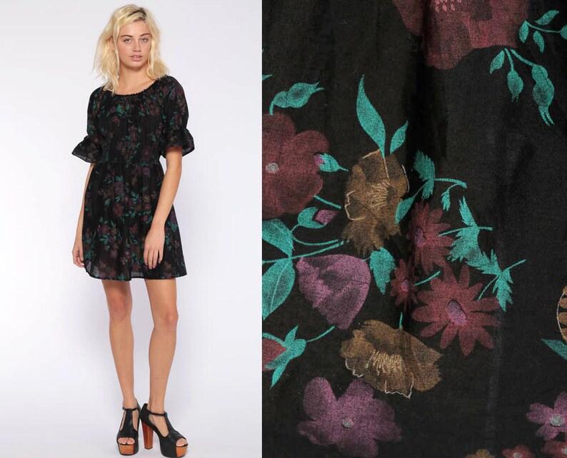 b12bba2970fa8 Bohemian Peasant Dress Black Floral Mini Dress 70s Empire   Etsy