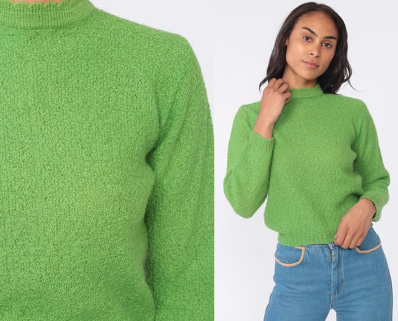60s Wool Sweater Mohair Blend Green Mock Neck Pin Up 50s Sweater Pinup Knit Mod 1960s Pullover Bobbie Brooks Vintage Retro Small