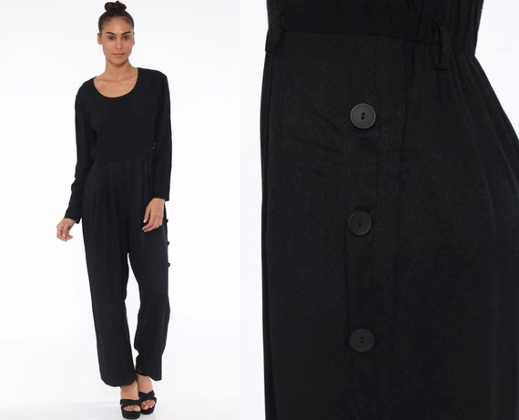 80s Black Jumpsuit Tapered Pant Button Up Pant Cot