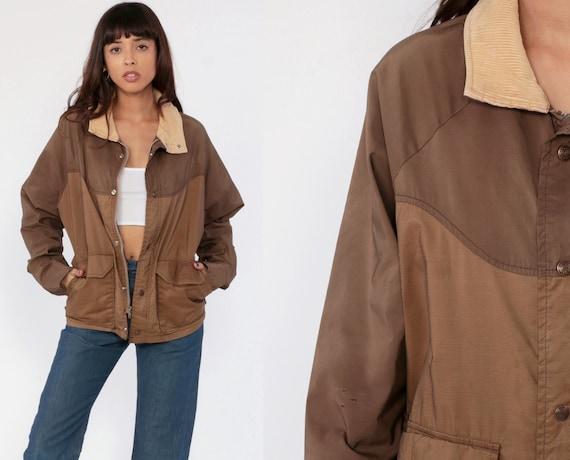 Brown Windbreaker Jacket 70s Jacket Retro Plain CORDUROY COLLAR Boho Jacket Bohemian Vintage 1970s Retro Small Medium