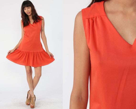Drop Waist Scooter Dress 60s Mini Mod Orange PLEATED Gogo Drop Waist Dress 1960s Space Age Vintage Sleeveless sixties Twiggy Medium
