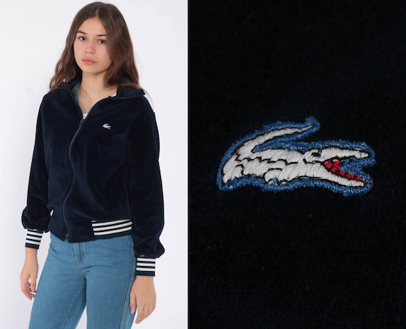 Lacoste Track Jacket Vintage Zip Up Sweatshirt 80s Dark Blue Velour Track Jacket 1980s Retro Retro Sports Old School Extra Small xs s