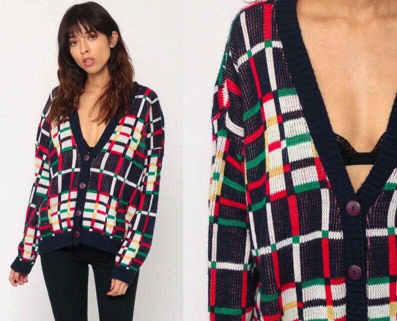 044bd7a9d Plaid Cardigan 80s Grandpa Sweater Knit Button Up Preppy | Etsy