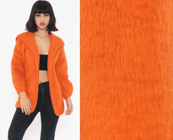 Fuzzy Wool Cardigan Sweater Orange 60s Plain Cardigan Open Front Slouchy 70s Neon Sweater Vintage Retro Small Medium