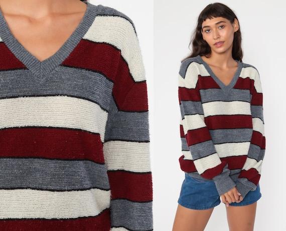 70s Sweater Striped Grey Cream Brown V Neck Sweater Knit Retro Sweater Ringer 1970s Bohemian Hippie Pullover Vintage Boho Medium Large