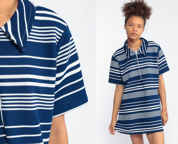 60s Mod Mini Striped Dress MICRO Navy Blue Front Zip Up Striped Mod Mini 70s Polyester Twiggy 70s Vintage Gogo Short Sleeve Large