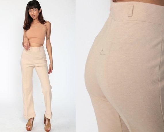70s Bell Bottoms Pants WOOL Trousers Tan Pants Cuffed High Waisted Trouser Hippie 1970s Bohemian Vintage Boho Medium 8