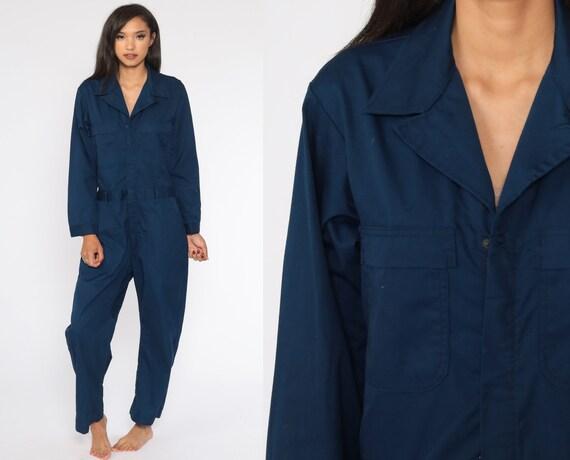 Navy Boiler Suit 80s Coveralls Pants Jumpsuit Boilersuit Workwear Coverall Blue One Piece Work Wear Vintage Pantsuit Mechanic Small Medium