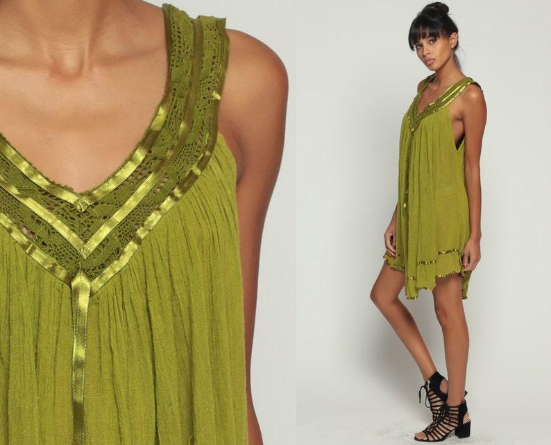 8134f364bbb Boho Dress Gauze Bohemian 70s Mini CROCHET Sundress Tent Lace