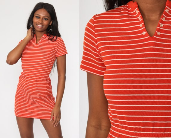 Vintage Tennis Dress 70s Mini Red Bumblebee Striped Dress Tennis Dress Polyester High Waisted Preppy 1970s MiniDress Short Sleeve Small