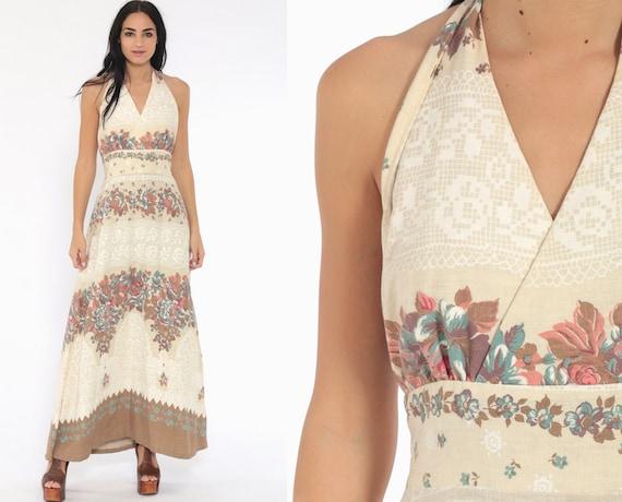 Floral Halter Dress Maxi 70s Boho Deep V Neck Beige Hippy Flower Print Sundress Bohemian Empire Hippie Vintage Backless Small Medium