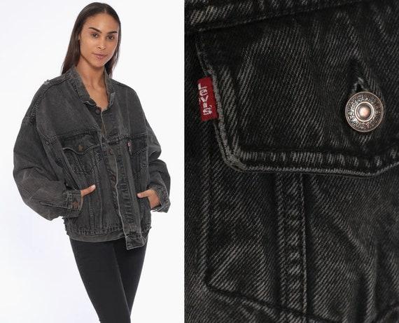 Black LEVIS Jacket Large -- Black Denim Jacket 80s Levi Jean Trucker Biker Oversized Grunge 1980s Vintage Button Up Coat Extra Large xl l