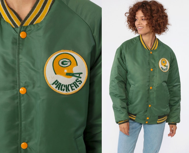 reputable site 5a38f ce315 Green Bay PACKERS Jacket 80s Football Coach Jacket NFL Snap Up Bomber  Jacket Striped Green Varsity 1980s Sportswear Ringer Retro Medium
