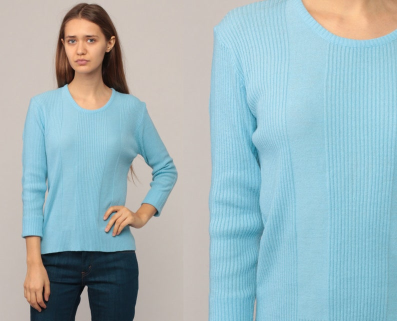 0cbd69a496c9 Baby Blue Knit Top Light Sweater 70s Sweater Retro 80s Hipster
