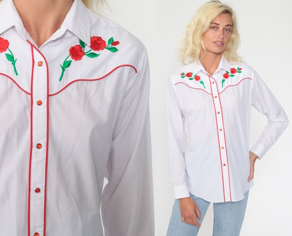 Western Rose Shirt EMBROIDERED 80s Pearl Snap Shirt Floral Cowboy Shirt Red Rose Button Up 70s Vintage White Long Sleeve Blouse Medium