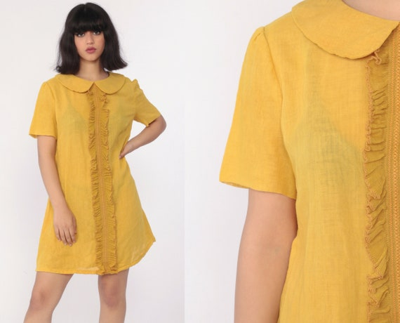 Peter Pan Collar Dress Mod Mini Tuxedo RUFFLE Yellow 60s Shift Hippie Vintage Sixties Twiggy Gogo 1960s Sleeveless Space Age Go Go Medium